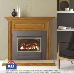 Archer Gas log fire_Wooden Oak mantle_pic
